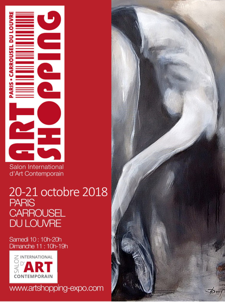 Malerin Olga David in Oktober 2018 bei Art Shopping - Paris. Stand G11