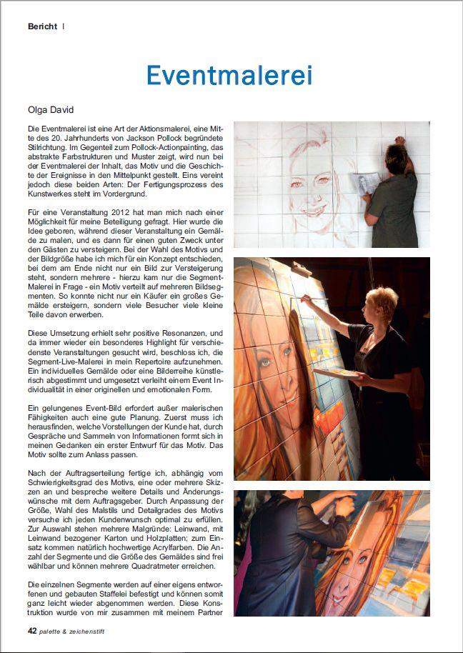 Artikel über Event Malerei der Künstlerin Olga David