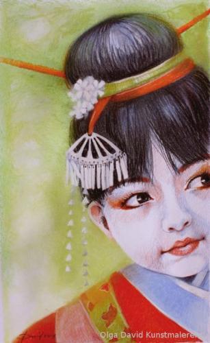japanisches mädchen  olga david Pastellzeichnung