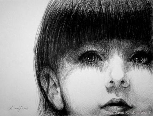 portrait eines mädchen personenportrait olga david Kohlezeichnung
