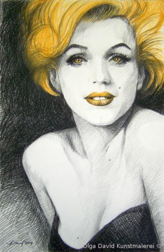 Portrait Marilyn Monroe olga david Pastellzeichnung