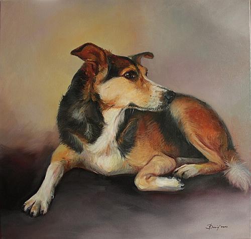 Hundenporträt Öl auf Leinwand